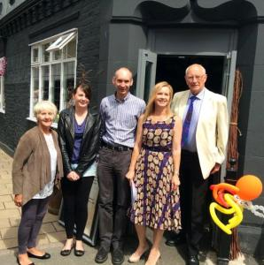 Project co-ordinator Sarah Flannery, second right, with Knutsford Hosts, from left Elaine McGhee, Georgia Wynne, Andrew Malloy, and Mike Tolchard