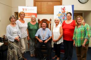 Knutsford Town Mayor, Cllr Neil Forbes, centre, with the new hosts, from left to right, Margaret Farmer, Sue Allan, Patricia Woodruff, Elaine McGhee, Elenor McAndrew, and Hazel Cussons